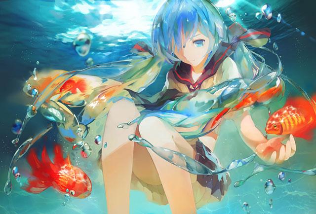キラキラ光る水泡と金魚とボトルミク