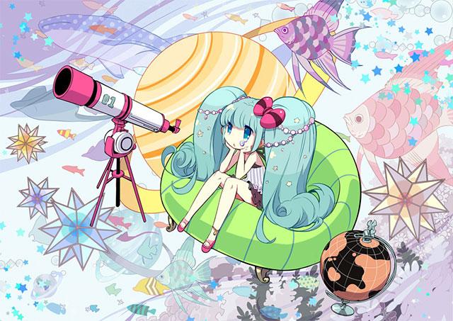 天体望遠鏡と魚とチビミクのファンタジーな壁紙画像