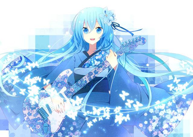 青い花柄の和服を着たミクの綺麗なイラスト
