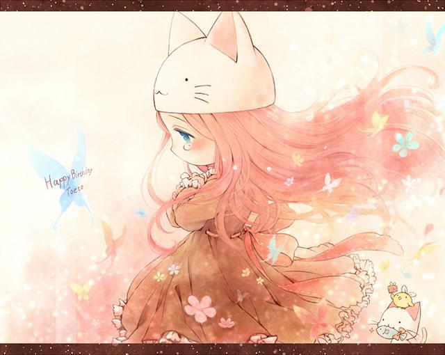 かわいいピンクカラーのトエトルカと花と蝶のイラスト
