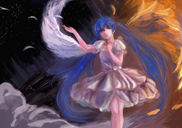 粗塗りタッチの天使な初音ミクのきれいな壁紙画像
