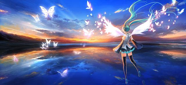 光の翼の生えた天使なミクと蝶のボカロ画像