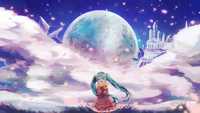 巨大な月とお城をバックにした初音ミクのかわいいイラスト