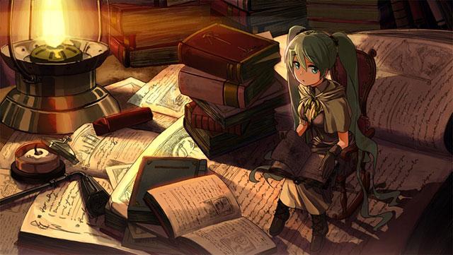 本を読む小人なミクのかわいい壁紙画像