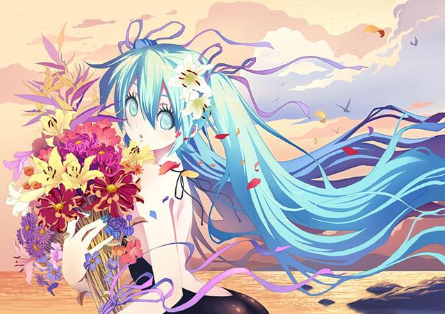 海辺で花束を持った初音ミクの綺麗なイラスト