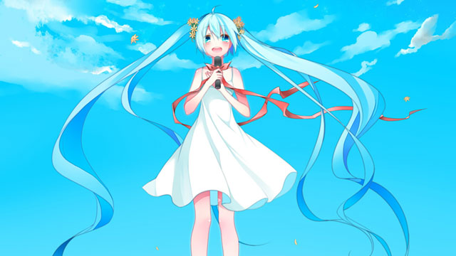 青空を背景にしたワンピースを着たミクの可愛いイラスト壁紙