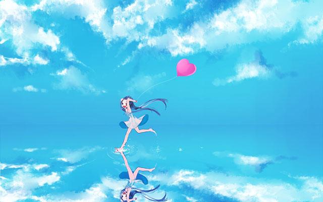 ハートの風船を持って走る初音ミクのかわいいイラスト