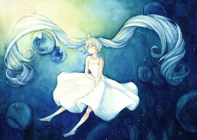 ワンピースを着た水中の中のミクを描いた水彩風イラスト
