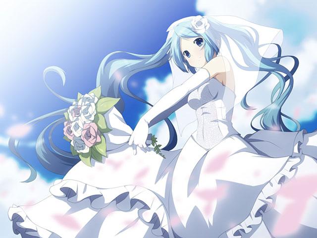 ウェディングドレス姿のミクの青空のさわやかなイラスト