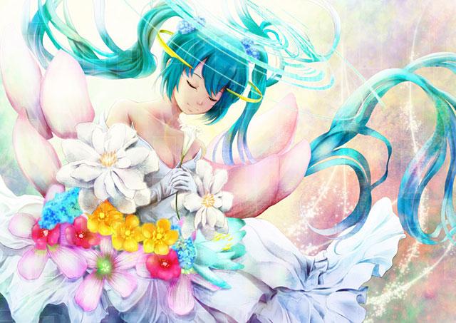 花のドレスに身を包んだ初音ミクの綺麗な壁紙画像