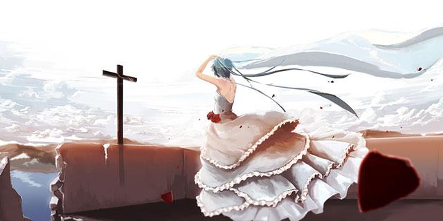 ウェディングドレスを着て十字架を見つめるミクの後ろ姿