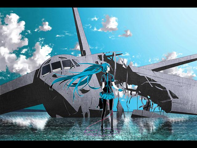 墜落した飛行機とミクがクールなデザインの高解像度壁紙