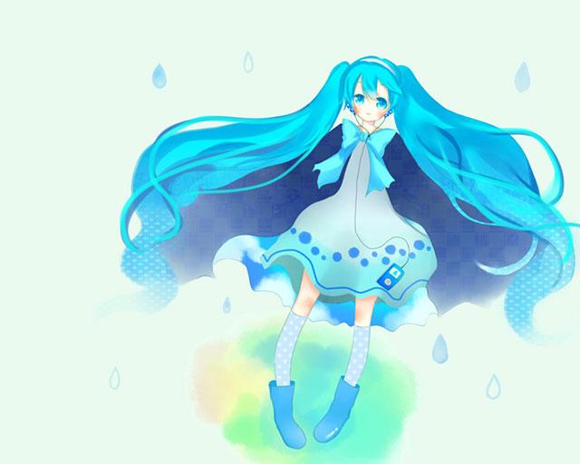 綺麗なブルーの初音ミクと雨の雫のデザインのイラスト壁紙