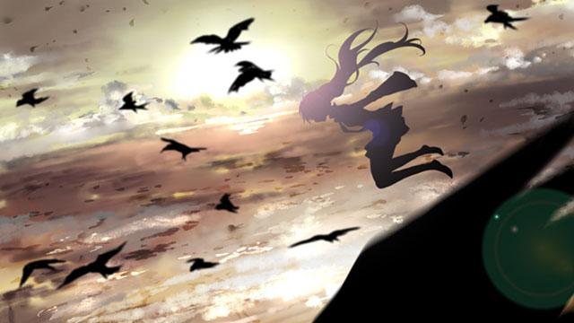 逆光を受けて浮かび上がる鳥達とミクのシルエットの綺麗なイラスト