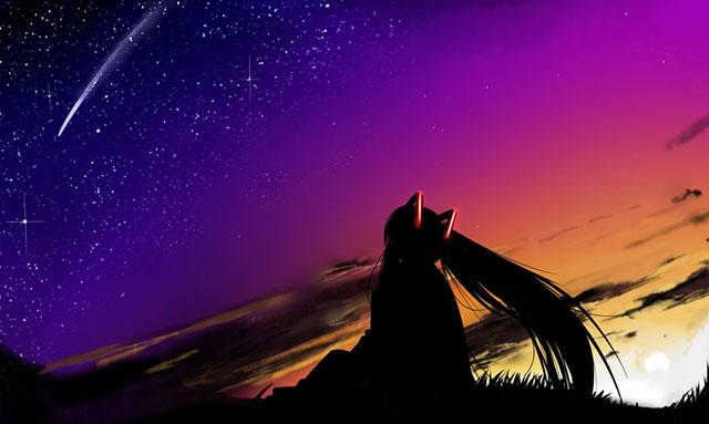 星空の流れ星を眺めるミクのシルエットの綺麗なイラスト画像