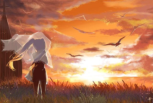 夕日に浮かび上がるドレスとベールを身にまとったミクの綺麗なイラスト壁紙