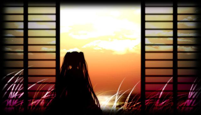 夕日とススキとミクのシルエットの綺麗なイラスト壁紙
