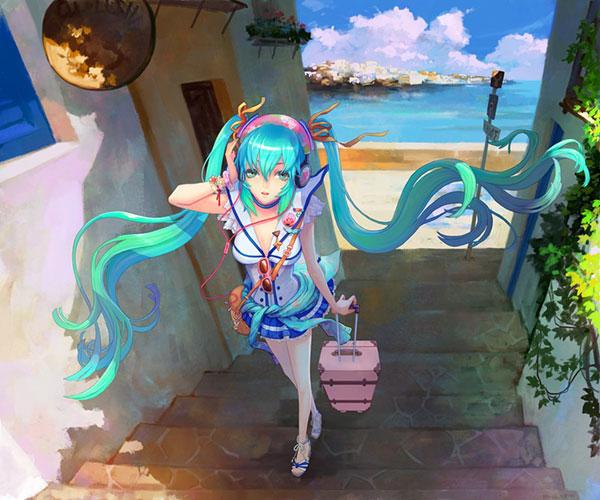 海辺の街を歩く夏休み中なミクを描いた綺麗なイラスト