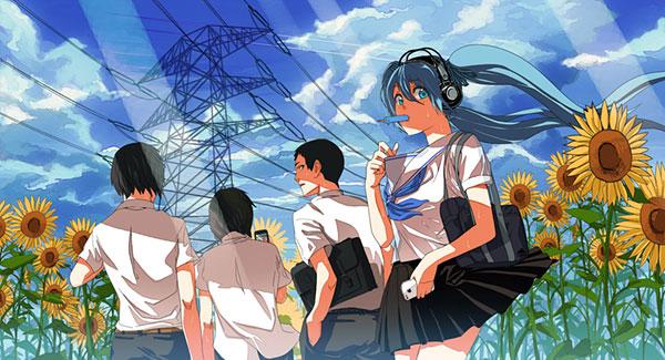向日葵の咲いた道を歩く学校帰りの制服姿の初音ミクのイラスト壁紙