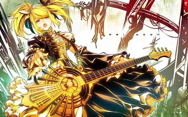 金色のギターを弾く鏡音リンのイラスト壁紙画像