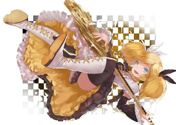 ギターを持ったリンの可愛いイラスト壁紙画像