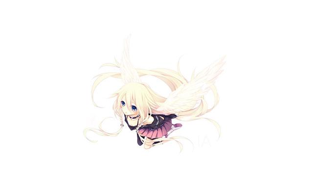 羽の生えた天使のデザインが可愛いIAのイラスト壁紙