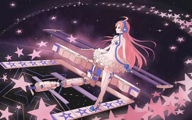 星と宇宙ステーションとMIKIの可愛いイラスト壁紙