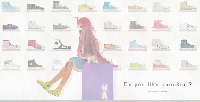 たくさんの靴とMIKIのポップでかわいいイラスト壁紙