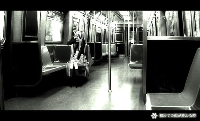 電車の中で泣く初音ミクのモノクロイラスト壁紙画像