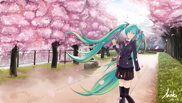 桜並木の通学路と制服姿の初音ミクの綺麗なイラスト画像