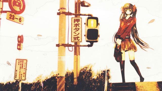 下校路の信号とセーラー服姿の初音ミクの綺麗なイラスト
