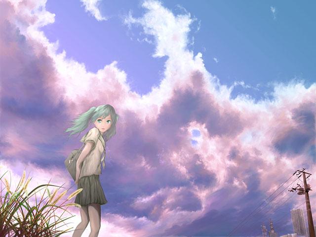 大空と夏服の制服を着た初音ミクのイラスト壁紙画像