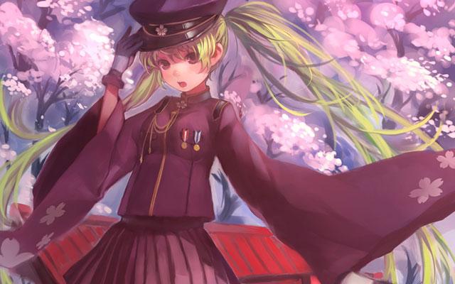 振袖風の軍服と万回の桜が綺麗な初音ミクのイラスト壁紙