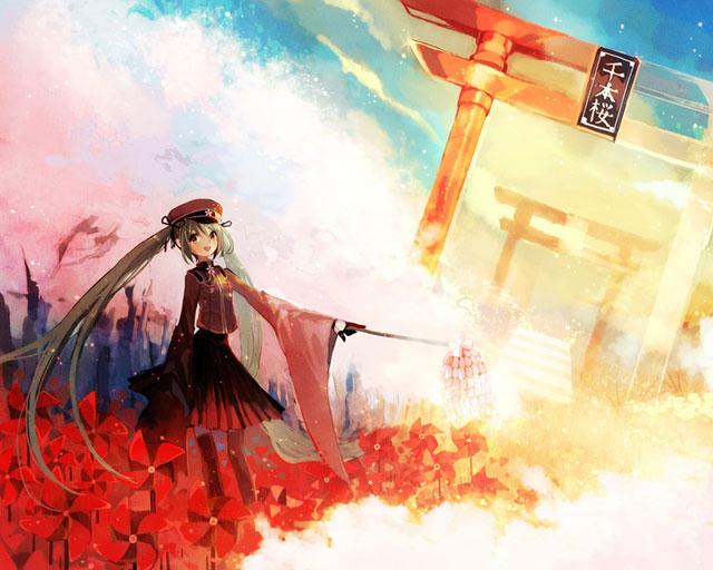 真っ赤な鳥居と風車が綺麗な初音ミクの「千本桜」イラスト