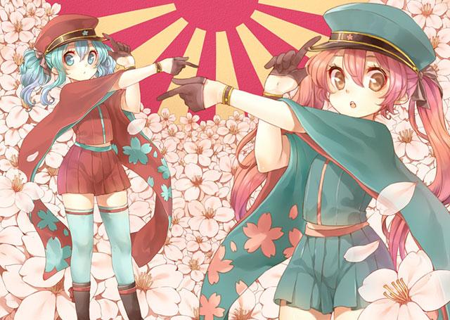 かわいいタッチで描いた初音ミクのボカロ曲「千本桜」のイラスト壁紙