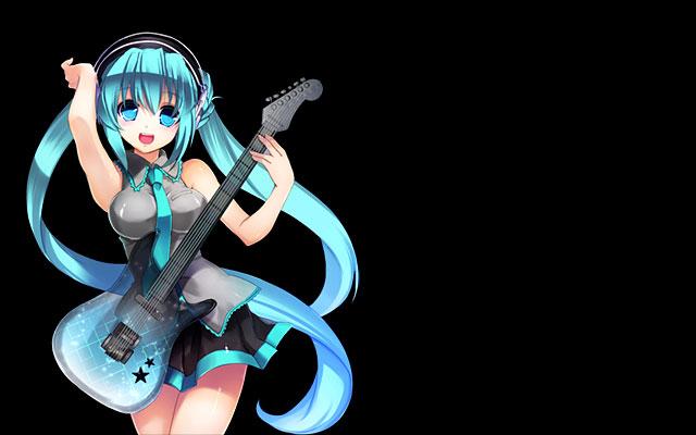 楽しそうにギターを弾く初音ミクのイラスト壁紙画像