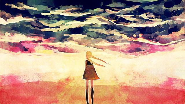 水彩風の塗り方がカラフルで綺麗な初音ミクの壁紙画像