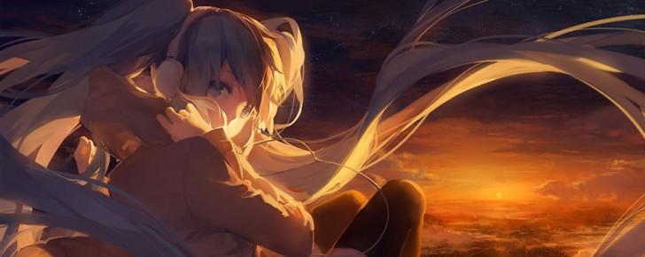 【初音ミク】夕日がバックの綺麗なイラスト壁紙【ボカロ画像】