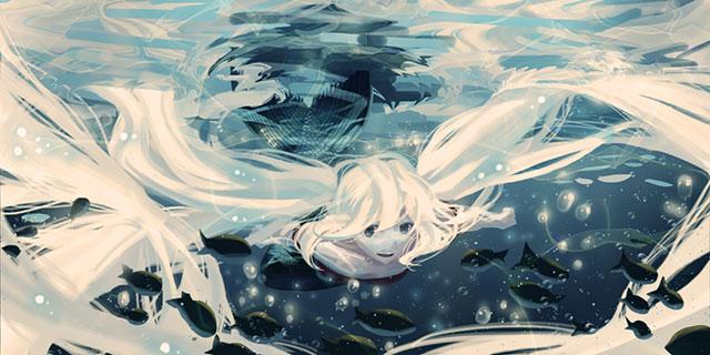 水中を楽しそうに魚と泳ぐ初音ミクのイラスト壁紙