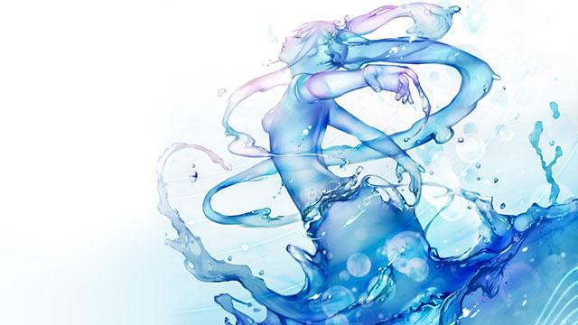リアルな水で出来た初音ミクのイラスト壁紙画像