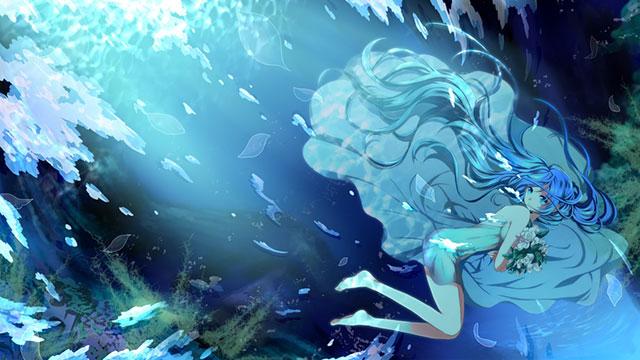 水中で花束を持ったドレス姿の初音ミクの高画質なイラスト壁紙