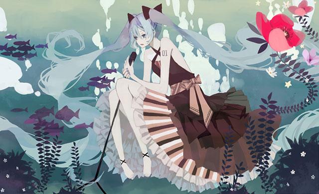 水の中でスタンドマイクで歌うドレス姿の初音ミクのイラスト