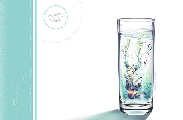 ボカロ曲「グラスの中に…」のイラスト壁紙画像
