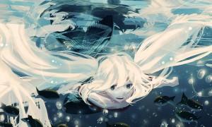 【初音ミク】水中のミクの高画質なイラスト壁紙【ボカロ画像】