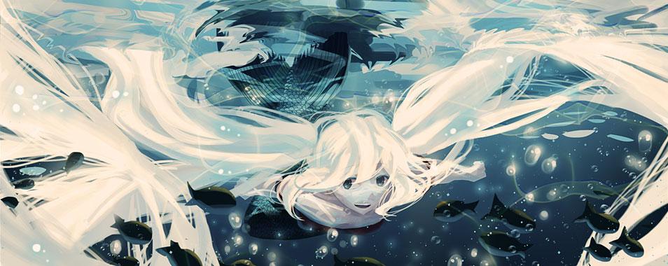 初音ミク 水中のミクの高画質なイラスト壁紙 ボカロ画像