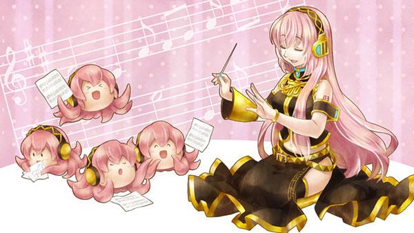 楽譜を持って楽しそうに歌うたくさんのたこルカと指揮する巡音ルカのイラスト壁紙