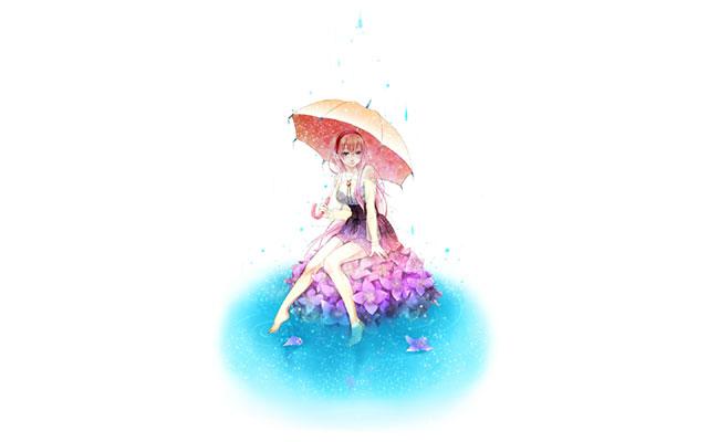 傘を持って紫陽花に座ったルカのおしゃれでシンプルなイラスト壁紙画像