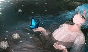 【初音ミク】ミクと蝶々の綺麗なイラスト画像【ボカロ壁紙】