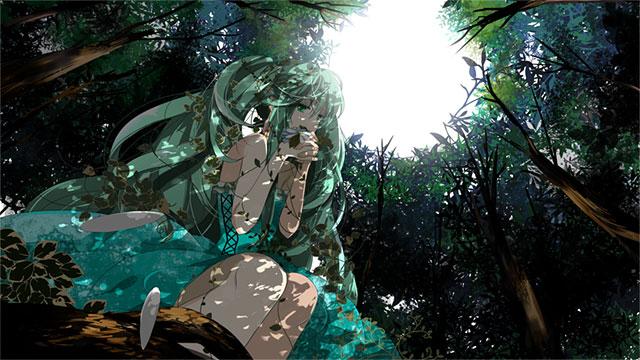 森の木漏れ日の中の初音ミクを描いた美しいイラスト壁紙画像