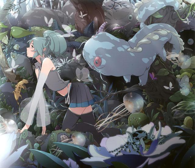 森の不思議な生き物たちと初音ミクのファンタジーなイラスト壁紙画像